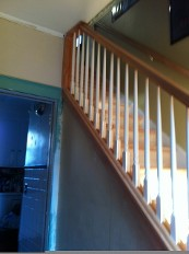 Staircase and Replaced Kneewall with New Oak Banisters